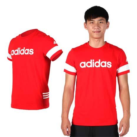 【ADIDAS】男短袖T恤-圓領 棉T 愛迪達 紅白-服飾‧鞋包‧內著‧手錶-myfone購物