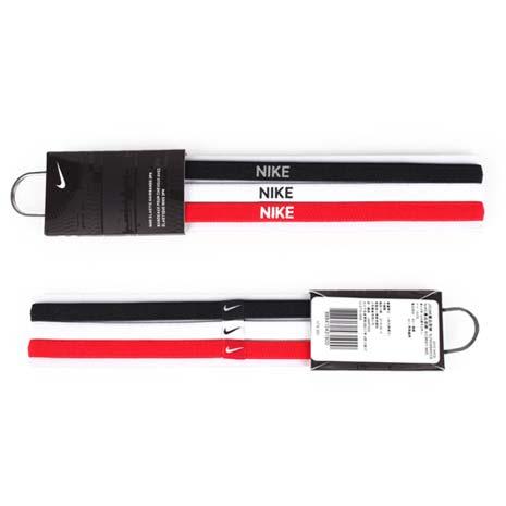 【NIKE】3條入髮帶 -頭帶 慢跑 路跑 瑜珈 黑白紅F