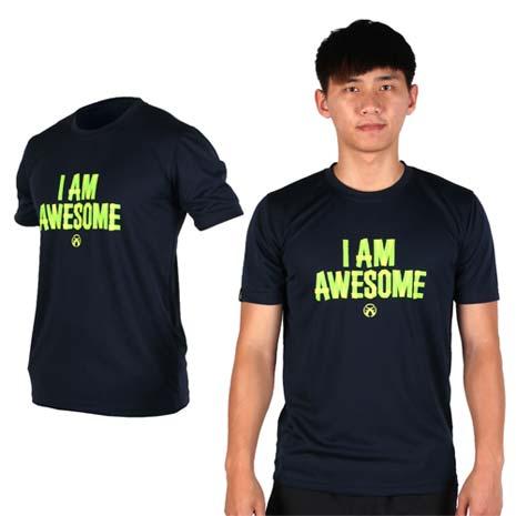 【FIRESTAR】男吸排圓領短袖T恤 -短T 路跑 慢跑 深藍螢光綠XL