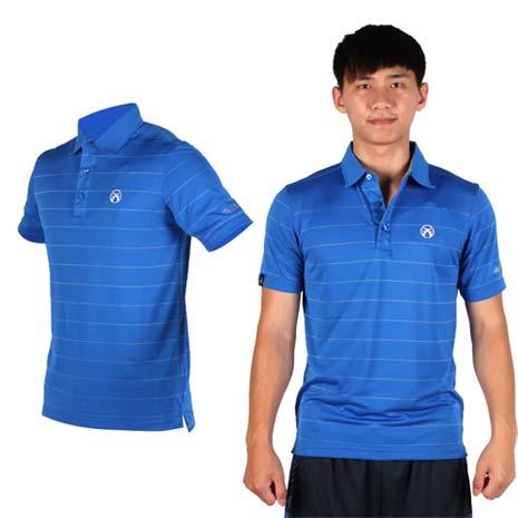 【FIRESTAR】男吸排短袖POLO衫 -短T 高爾夫球 立領 寶藍灰M