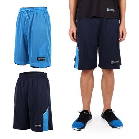【FIRESTAR】男雙面網布籃球短褲-慢跑 路跑 籃球 休閒 丈青淺藍L