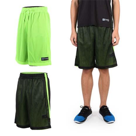 【FIRESTAR】男雙面網布籃球短褲-慢跑 路跑 籃球 休閒 黑螢光綠M