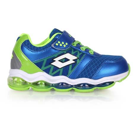 【LOTTO】男大童氣墊跑鞋 -男童 女童 童鞋 路跑 慢跑 藍螢光綠23