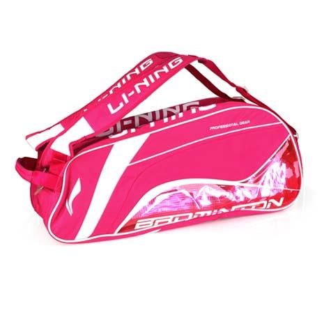 【LI-NING】女六支裝果凍拍包- 羽毛球袋 羽球拍袋 李寧 粉紅白