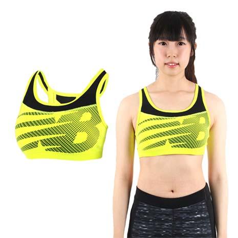 【NEWBALANCE】女款運動短BRA-運動內衣 運動背心 NB 螢光黃黑S