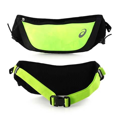 【ASICS】彈性慢跑腰包 -臀包 慢跑 路跑 單車 自行車 亞瑟士 螢光綠黑F
