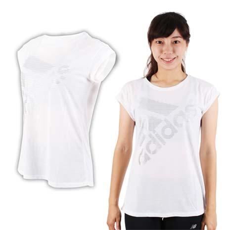 【ADIDAS】女運動短袖T恤-短T 慢跑 路跑 愛迪達 白銀-服飾‧鞋包‧內著‧手錶-myfone購物