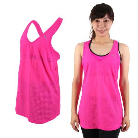 【PUMA】女訓練系列網布運動背心-慢跑 路跑 健身 螢光粉銀