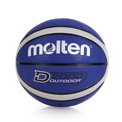 【MOLTEN】12片橡膠深溝籃球 -七號球 藍灰