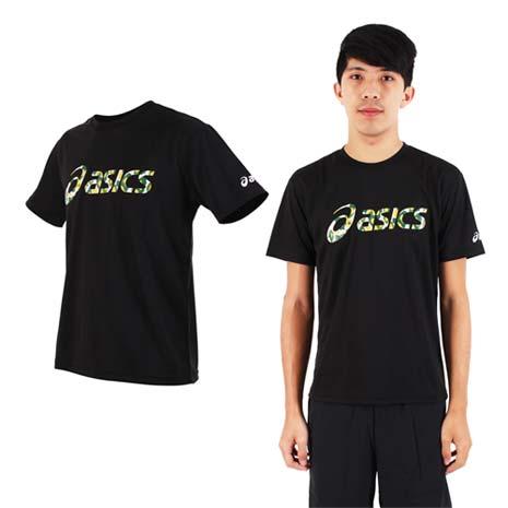【ASICS】男運動排汗短袖T恤- 慢跑 路跑 亞瑟士 迷彩黑