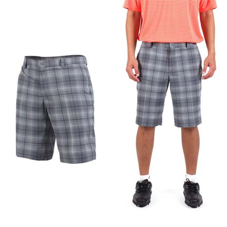 【NIKE】GOLF 男排汗格紋短褲- 高爾夫球 POLO衫 立領 T恤 灰