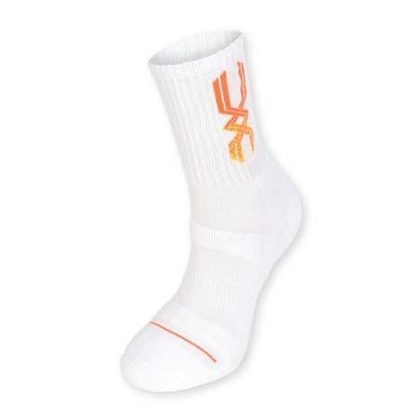 【MIZUNO】男運動厚底襪-襪子 美津濃 慢跑 路跑 籃球 白亮橘