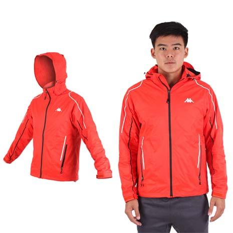 【KAPPA】男雙層風衣外套-防風 防水 保暖 刷毛 立領 橘白XL