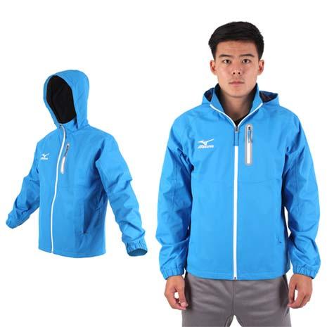【MIZUNO】男保暖風衣外套-刷毛 防風 防水 立領 運動 休閒 美津濃 水藍白2XL