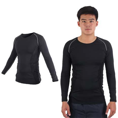 【SOFO】男長袖彈力T恤-慢跑 路跑 訓練 健身 黑L