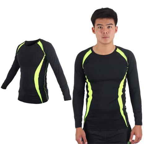 【SOFO】男長袖彈力T恤-慢跑 路跑 訓練 健身 黑螢光綠M
