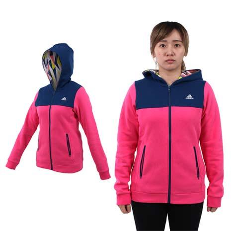 【ADIDAS】女連帽外套-保暖 刷毛 慢跑 路跑 訓練 深藍桃紅L