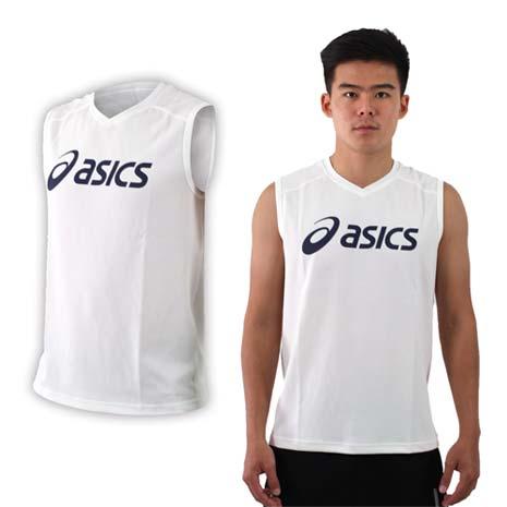 【ASICS】男排羽球背心-排球 羽球 亞瑟士 白丈青3XL