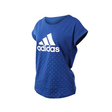 【ADIDAS】女短袖上衣-短T T恤 愛迪達 慢跑 路跑 藍白