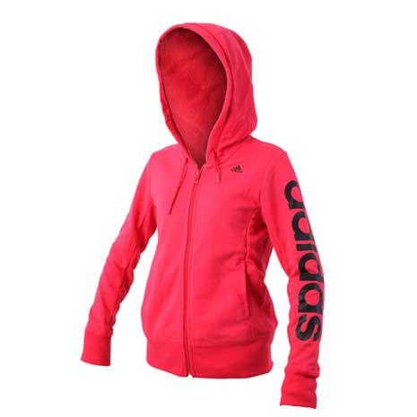 【ADIDAS】女連帽運動外套-慢跑 愛迪達 桃紅黑