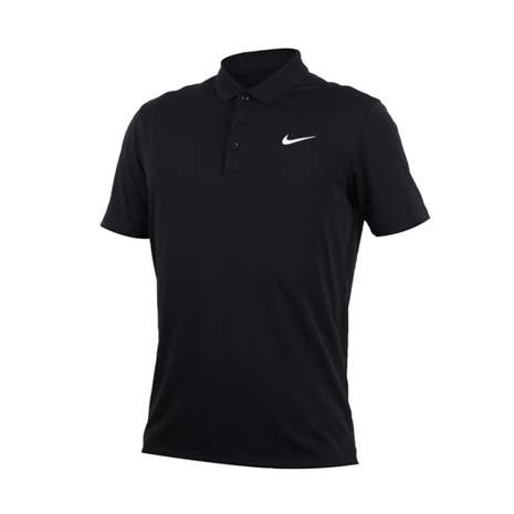 【NIKE】GOLF 男快速排汗短袖針織衫-高爾夫球 POLO衫 立領 T恤 黑白M
