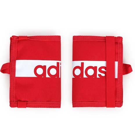 【ADIDAS】皮夾-短夾 零錢包 手拿包 收納包 桃紅白