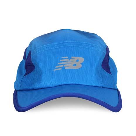 【NEWBALANCE】專業跑步帽-慢跑 路跑 帽子 鴨舌帽 防曬 遮陽 藍銀F