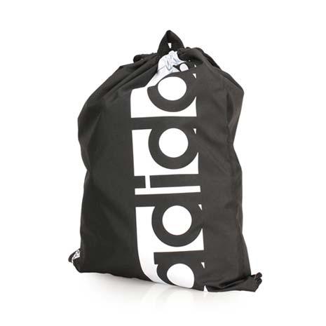 【ADIDAS】運動束口袋-後背包 雙肩包 鞋袋 收納袋 愛迪達 黑白
