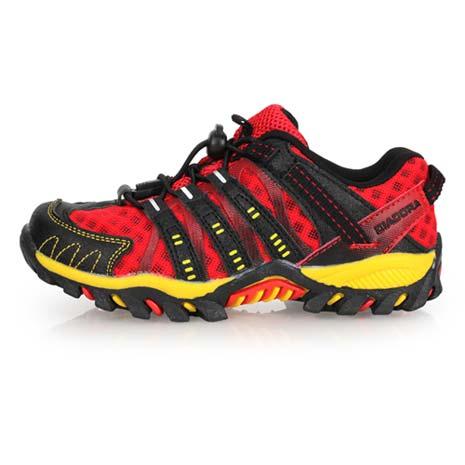 【DIADORA】男女中童段越野跑鞋-兒童 童鞋 慢跑 路跑 登山 紅黑黃22