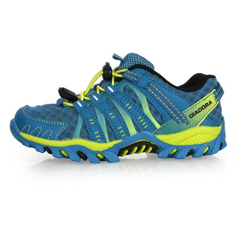 【DIADORA】男女中童段越野跑鞋-兒童 童鞋 慢跑 路跑 登山 寶藍芥末綠20