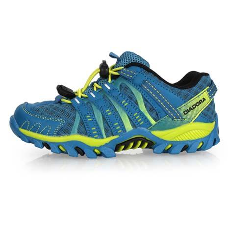 【DIADORA】男女中童段越野跑鞋-兒童 童鞋 慢跑 路跑 登山 寶藍芥末綠23