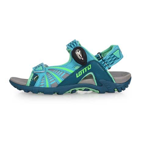 【LOTTO】女磁扣運動涼鞋-海邊 海灘 沙灘 戲水 排水 拖鞋 魔鬼氈 水藍綠24