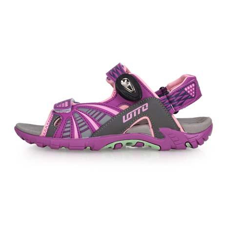 【LOTTO】女磁扣運動涼鞋-海邊 海灘 沙灘 戲水 排水 拖鞋 魔鬼氈 紫粉23