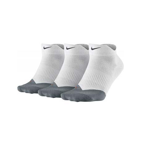 【NIKE】DRI-FIT 男女輕量短襪-訓練 路跑 三雙入 襪子 白淺灰M