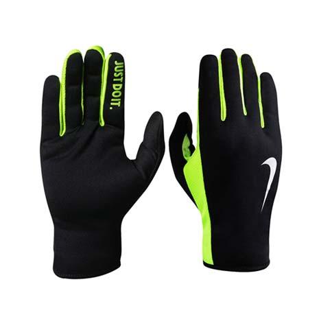 【NIKE】RALLY 2.0 男用拼接手套-路跑 慢跑 訓練 黑螢光綠L