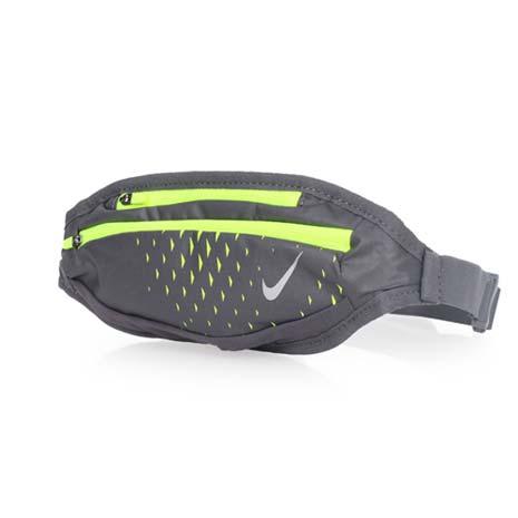 【NIKE】運動腰包-小-手機包 慢跑 路跑 登山 深灰螢光綠F
