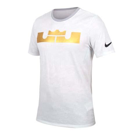 【NIKE】男短袖針織衫-T恤 短T 籃球 NBA LEBRON JAMES 灰金XL