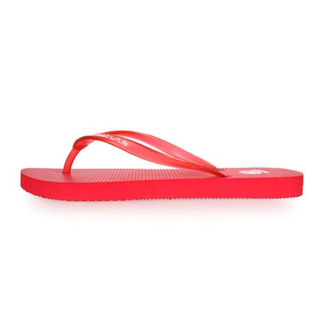 【WAVE3】女素色果凍耳帶人字拖-游泳 海灘 海邊 戲水 紅L