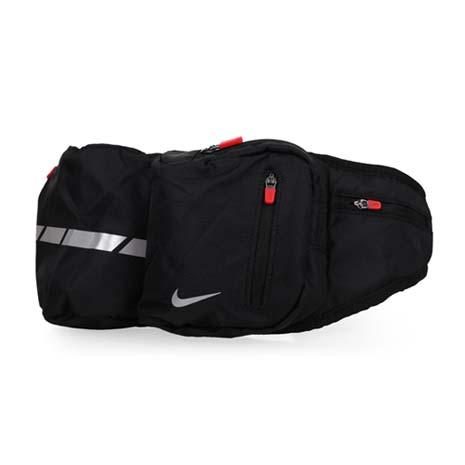 【NIKE】日系運動腰包-可側背 可放水壺 路跑 單車 自行車 黑銀紅F
