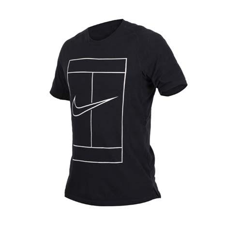 【NIKE】男短袖針織衫-短T T恤 慢跑 路跑 訓練 健身 黑白藍M