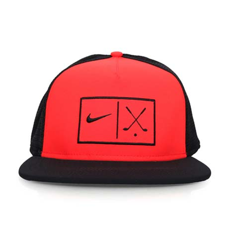 【NIKE】GOLF 可調式高爾夫帽-帽子 鴨舌帽 路跑 慢跑 遮陽 防曬 黑紅F