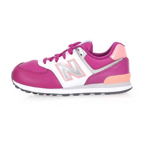 【NEWBALANCE】574系列 男女復古中童休閒鞋-W-寬楦 NB 紫粉紅18.5