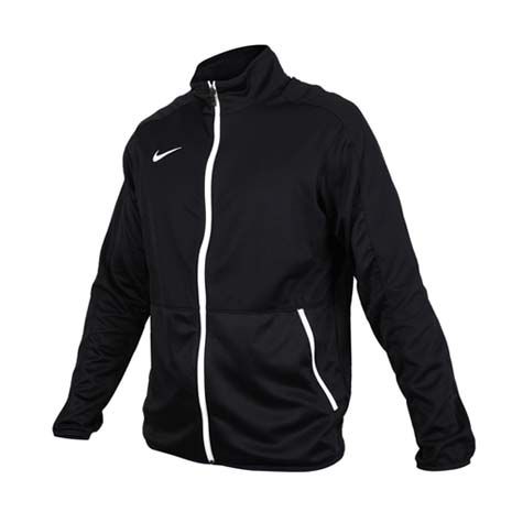 【NIKE】男針織籃球夾克-立領外套 慢跑 路跑 黑白XL
