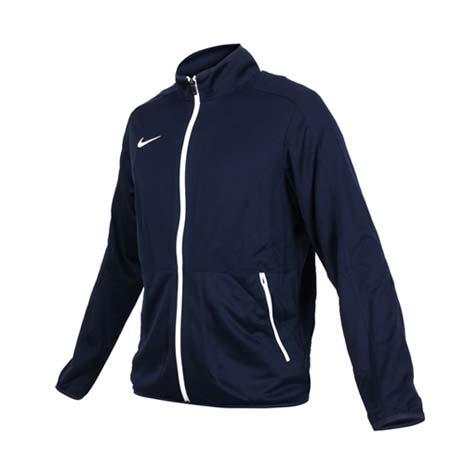 【NIKE】男針織籃球夾克-立領外套 慢跑 路跑 丈青白M