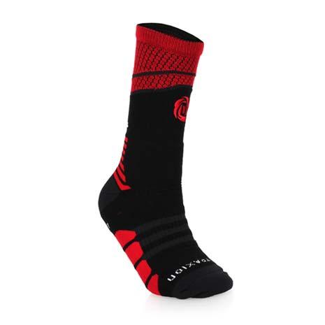 【ADIDAS】ROSE系列 男襪-DERRICK ROSE 一雙入 長襪 襪子 黑紅白L