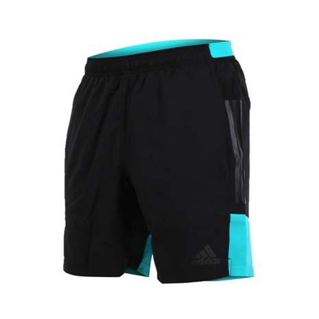 【ADIDAS】男運動短褲-慢跑 路跑 愛迪達 黑湖水綠M