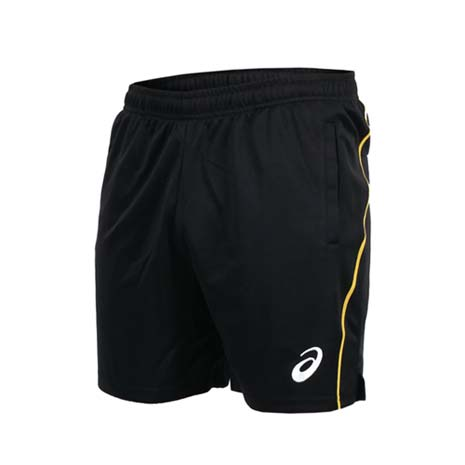 【ASICS】男排球針織短褲 - 四分褲 亞瑟士 黑黃L