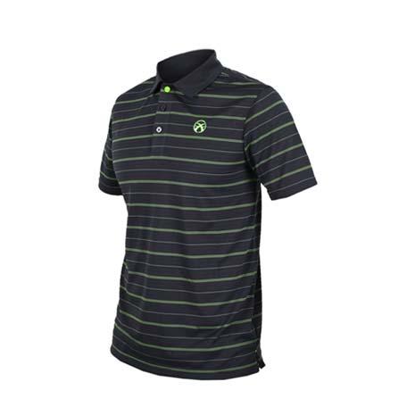 【FIRESTAR】男短袖高爾夫POLO衫-高爾夫球 慢跑 路跑 深灰螢光綠M
