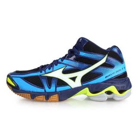 【MIZUNO】WAVE BOLT 6 MID 男排球鞋 - 美津濃 丈青水藍26.5