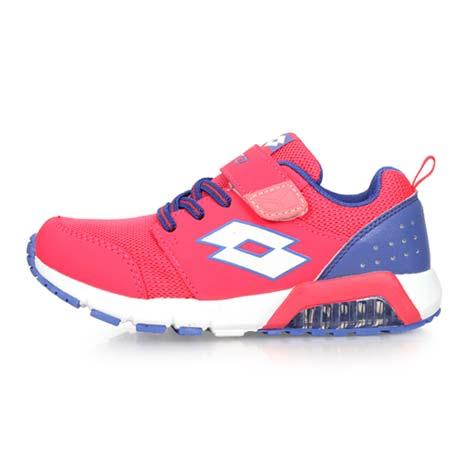 【LOTTO】男女中童果凍膠復古慢跑鞋 -路跑 魔鬼氈 童鞋 兒童 桃紅紫23